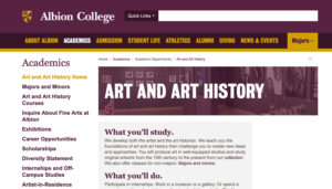 Albion College website screenshot