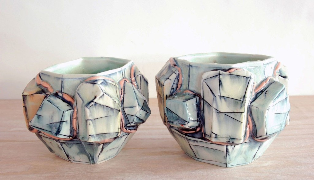 "Brett Freund, ""Crystal Cups"", Porcelain, Underglaze, Mason Stain, Cone 6, 3.5x4x4"