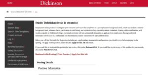 Dickinson College screenshot