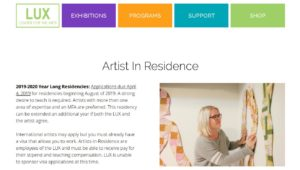 Lux Center for the Arts - AIR application
