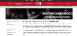 Learn more about Ceramics at Southern Utah University