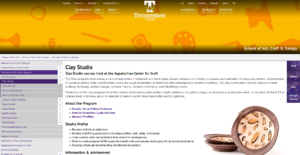 Screenshot of Tennessee Tech Clay Program page