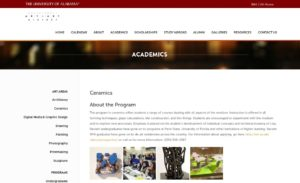University of Alabama Ceramics website screenshot
