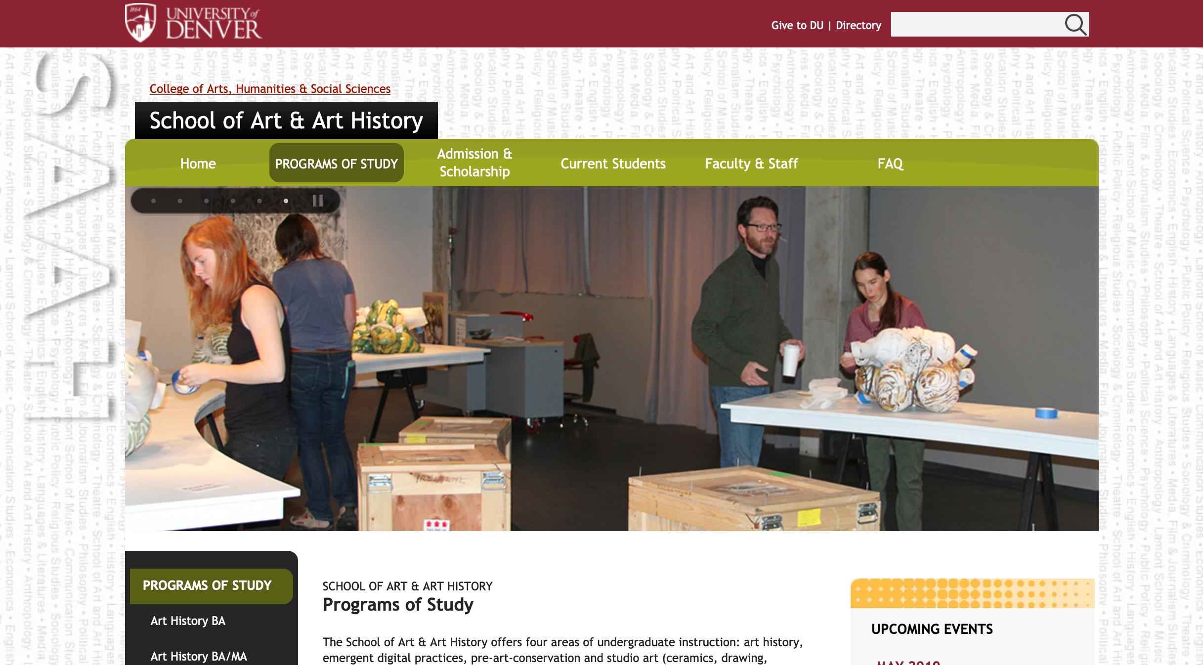 University of Denver Fine Arts website screenshot
